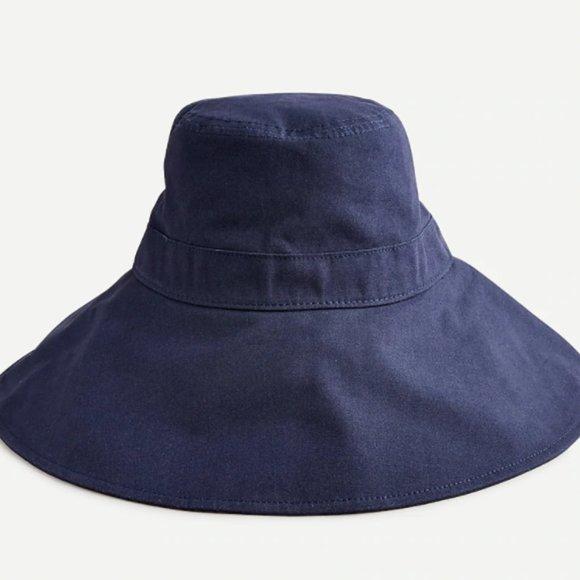 J.Crew Wide-Brim Bucket Hat (Navy)